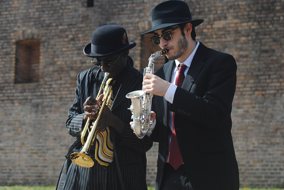 Two Musicians Paying Jazz